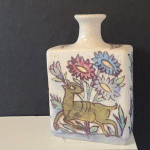 Pottery Barn Iznik Decorative Vase Deer Bird Boho